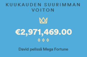 Casumo voitto - 2,9 € miljoonaa